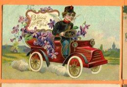 FEL1409, Old Car, Vieille Voiture, Ange, Angel, Engel, Or, Gold, Circulée 1907 - Fêtes - Voeux