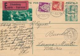 Schweiz - 1933 - 10c Postkarte + 60c Per Exprès From Locarno To Monti Della Trinita - Entiers Postaux