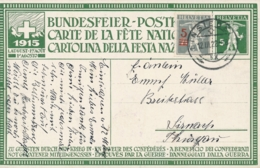 Schweiz - 1922 - 5c Tellknabe, Bundesfeierkarte + 5c From Einsiedel.. To Sirnach - Stamped Stationery