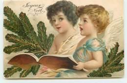 N°13975 - Carte Gaufrée - Clapsaddle - Joyeux Noël - Anges Chantant - Noël