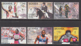 1995 Uganda Olympics Horses Equestrian Cycling Boxing Complete Set Of 6 MNH - Uganda (1962-...)