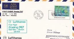 UN New York Airmail First Flight Boeing 747 Lufthansa New York - München - 1970 (45629) - Poste Aérienne