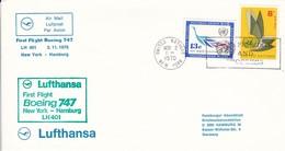 UN New York Airmail First Flight Boeing 747 Lufthansa New York - Hamburg - 1970 (45630) - Poste Aérienne