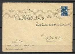 Estland Estonia 1941 First Soviet Occupation Letter To Tallinn O Tartu 22.11.1941 - Estland