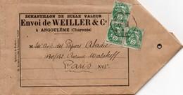 ECHANTILLON DE NULLE  VALEUR ENVOI De WEILLER & COMPAGNIE ANGOULEME Charente Affranchissement  YT Type Blanc  N° 111 - Storia Postale