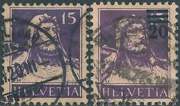 SVIZZERA -Switzerland-Swiss -HELVETIA 1914 Wilhelm Tell,15(C)violet,and 1921 Surcharges 20/15(C)-Used - Svizzera