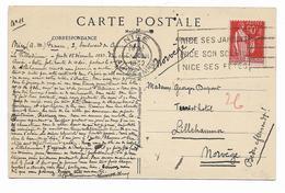 Type PAIX -N° 285  - 90c Rouge Carminé Tarif étranger -  Seul/ Sur  Cp Environs De BEUIL- Cachet NICE 1932 Vers NORVEGE - 1921-1960: Periodo Moderno
