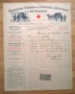 Feuille Timbre Quittance / Association Générale Des Infirmiers & Infirmières De France Octobre 1920 Paris Nogent - EHBO