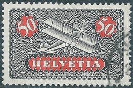 SVIZZERA-Switzerland-Swiss-HELVETIA 1923 Airmail,50(C)blackish Gray/red,Used Value €20,00 - Svizzera