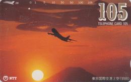 Télécarte Japon / NTT 231-134 - Montagne MONT FUJI & AVION ** ONE PUNCH ** - Plane Mountain & Sunset Japan Phonecard 374 - Aviones