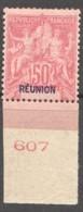 """Réunion  Groupe 50 Cent.  Surcharge """"REUNION"""" Double : Bleue Et Rouge Yv 42a * - Réunion (1852-1975)"""