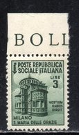 Rox 1944 RSI Monumenti Distrutti 3 Lire MNH** Nuovo Con Gomma Integra Senza Linguella - 4. 1944-45 Repubblica Sociale