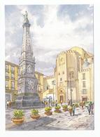Napoli - Piazza San Domenico Maggiore E Chiesa Da Un Acquarello Di G.Ospitali - Illustratori & Fotografie