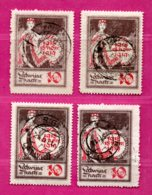 LATVIA LETTLAND LOT OF 4 STAMPS 10 Kop. Sc # 60 1919 LAID PAPER USED 836 - Latvia