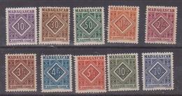 MADAGASCAR         N°  YVERT   TAXE 31/40 NEUF SANS CHARNIERE      ( Nsch 02/12 ) - Madagascar (1889-1960)