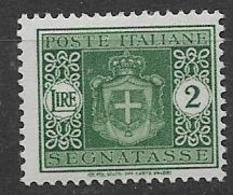 REGNO D'ITALIA LUOGOTENENZA 1945 SEGNATASSE STEMMA SENZA FASC IFIL.RUOTA  SASS. 93  MNH XF - 1944-46 Lieutenance & Humbert II