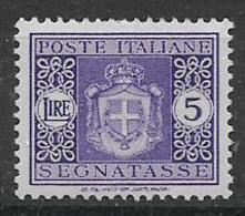 REGNO D'ITALIA LUOGOTENENZA 1945 SEGNATASSE STEMMA SENZA FASC IFIL.RUOTA  SASS. 94  MLH XF - 1944-46 Lieutenance & Humbert II