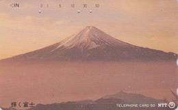 Télécarte Japon / NTT 251-023 B - Montagne MONT FUJI - Vulcan Mountain Japan Phonecard - BERG Telefonkarte - 387 - Volcans