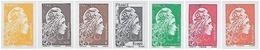 France N° 5248_A à 5254_A ** Marianne L'Engagée. Les 7 Valeurs Non Dentelées - Unused Stamps