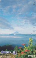 Télécarte Japon / NTT 251-293 B - Montagne MONT FUJI - Mountain & Flower Japan Phonecard - Berg TK - 406 - Vulkanen