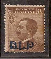(Fb).Regno.V.E.III.B.L.P.1921.Varietà.40c Bruno Nuovo Senza Punto Dopo La P.Soprastampa Del I° Tipo (446-16) - 1900-44 Vittorio Emanuele III
