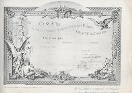 Diplome - Concours Musiques D' Harmonie & Fanfares - GENEVE 1890 - Derouvenoz -- Pas Carte Postale - - GE Geneva