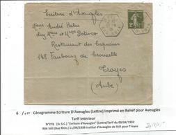 SEMEUSE 2C SEUL LETTRE C. HEX STILL 11.9.1939 BAS RHIN MENTION ECRITURE D'AVEUGLES CECOGRAMME - Marcophilie (Lettres)