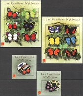 C213 GUINEA DE GUINEE BUTTERFLIES PAPILLONS D'AFRIQUE !!! MICHEL 82 EURO 2BL+2KB MNH - Butterflies
