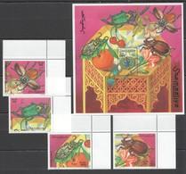 C302 1998 SOOMAALIYA FLORA & FAUNA INSECTS BUGS BL+SET MNH - Insects