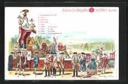 Künstler-Lithographie Messerschmidt: Wien, Histor. Festzug 1898, Festwagen Mit Maria Theresia 1740-1780, Franz I., Et - Familias Reales