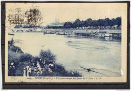 37179 . TOURS . VUE PANORAMIQUE DES QUAIS DE LA LOIRE . A.B.  CIRCULEE 1924. - Tours