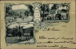 Passepartout Cp Kandy Sri Lanka Ceylon, Teilansichten, Elefant, Denkmal - Sri Lanka (Ceylon)