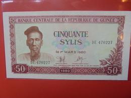 GUINEE 50 SYLIS 1980 PEU CIRCULER (B.10) - Guinée