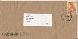 Tanzania Unicef Cover Sent To Denmark 29-3-2008 Single Franked - Tanzania (1964-...)
