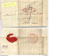 LAC MARQUE TOULOUSE 17-7-1824 TAXE DÉCIME + H.21 + CACHET ROUGE ARRIVÉE PARIS  21 JUILLET 1824 + CACHET CIRE - 1801-1848: Precursors XIX