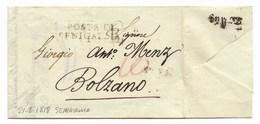DA SENIGALLIA A BOLZANO - 21.8.1818 - DESTINAZIONE NON COMUNE. - Italia