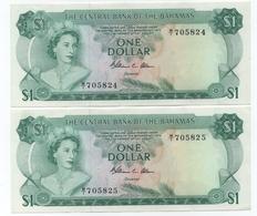 BAHAMAS   P. 35b - COPPIA  1 $  CON SERIE CONSECUTIVA  - XF - - Bahamas