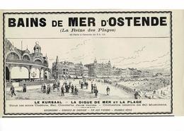 Ancienne Pub Belgique Ostende, Bains De Mer,le Kursaal, La Digue De Mer Et La Plage - Publicités
