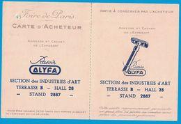 FOIRE DE PARIS 1948 CARTE D'ACHETEUR RASOIR ALYFA - Publicités