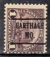 USA Precancel Vorausentwertung Preo, Locals Missouri, Carthage 571-225 - Preobliterati