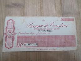Banque De Courtrai Cheque 1920 - 1900 – 1949