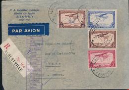 BELGIAN CONGO REGISTERED AIR COVER FROM ALBERTVILLE 03.02.38 TO BERNE SWITZERLAND - Congo Belge