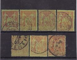 # Z.10896 France Republic 1884 - 90 Type II. 7 X Value 20 C. Used, Yvert 96, Michel 79: Pax & Mercur - 1876-1898 Sage (Type II)