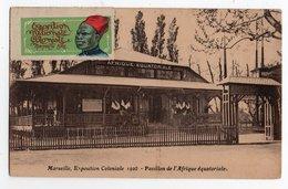 EXPOSITION COLONIALE MARSEILLE 1922 * VIGNETTE * PAVILLON AFRIQUE EQUATORIALE * ETENDARD * DRAPEAU - Exhibitions