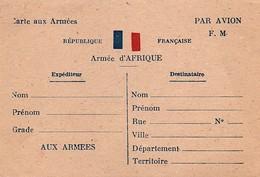 Carte  Aux  Armées  -  Armée  D'AFRIQUE , Carte Neuve F. M.  ( Par Avion ) - Franchise Stamps