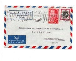 GRECE AFFRANCHISSEMENT COMPOSE SUR LETTRE A EN TETE  AVION POUR LA FRANCE 1959 - Covers & Documents