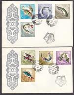Mongolia 1965 - Fishes, Mi-Nr. 398/405, 2 FDC - Mongolia