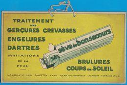 CARTON SEVE DE BONSECOURS LABORATOIRES MARTIN RUE BONNABAUD CLERMONT-FERRAND BRULURES COUPS DE SOLEIL GERCURES CREVASSES - Pappschilder