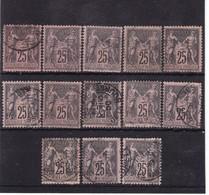 # Z.10898 France Republic 1884 - 90 Type II. 13 X Value 25 C. Used, Yvert 97, Michel 80: Pax & Mercur - 1876-1898 Sage (Tipo II)
