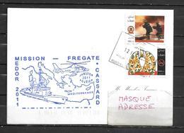 Frégate CASSARD - Mission MEDOR 2011 - Escale à BEYROUTH - 12/02/11 Sur Timbres Libanais - Poste Navale